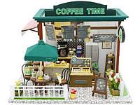 """Кукольный домик """"COFFEE TIME"""" 3D Интерьерный конструктор (дерево, бумага, пластик, текстиль,LED лампы)"""