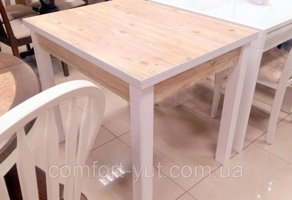 Стол обеденный Марсель 110(+35+35)*75  белый - Нордик Пайн