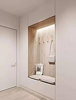 Шкаф в прихожую в современном стиле белый мдф + дерево (дсп)