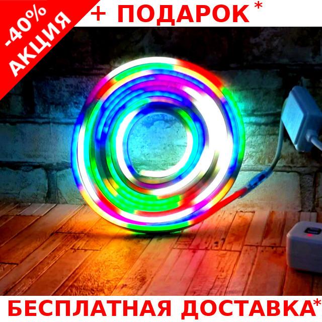 Гибкий светящийся неоновый шнур LED Neon Flex Strip Cold Color 5m цветная неоновая лента для декора 12V