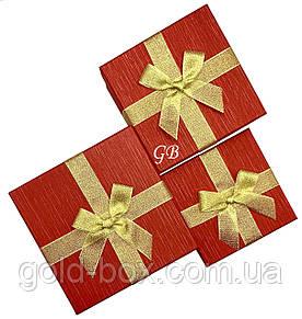Подарочные коробочки оптом 3 в 1 красная с золотым бантом квадратная