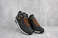 Мужские кроссовки кожаные зимние черные-рыжие New Mercury круз ч-р