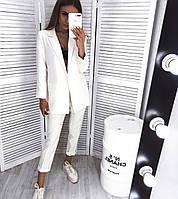 Костюм женский брючный с удлинённым пиджаком, фото 1