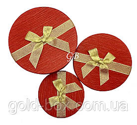 Подарочная коробочка 3 в 1 красная с золотым бантом круглая