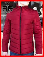 Куртка мужская без капюшона, пуховик (Осень), цвет красный