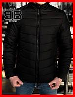 Куртка мужская без капюшона, пуховик (Осень), цвет черный