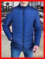 Куртка мужская без капюшона, пуховик (Осень),цвет синий