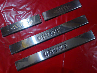 Накладки на пороги CHEVROLET CRUZE (штамп надпись)
