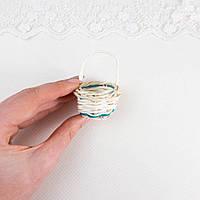 Корзинка плетенная, около 6 см с ручкой Бирюзовый кант, фото 1