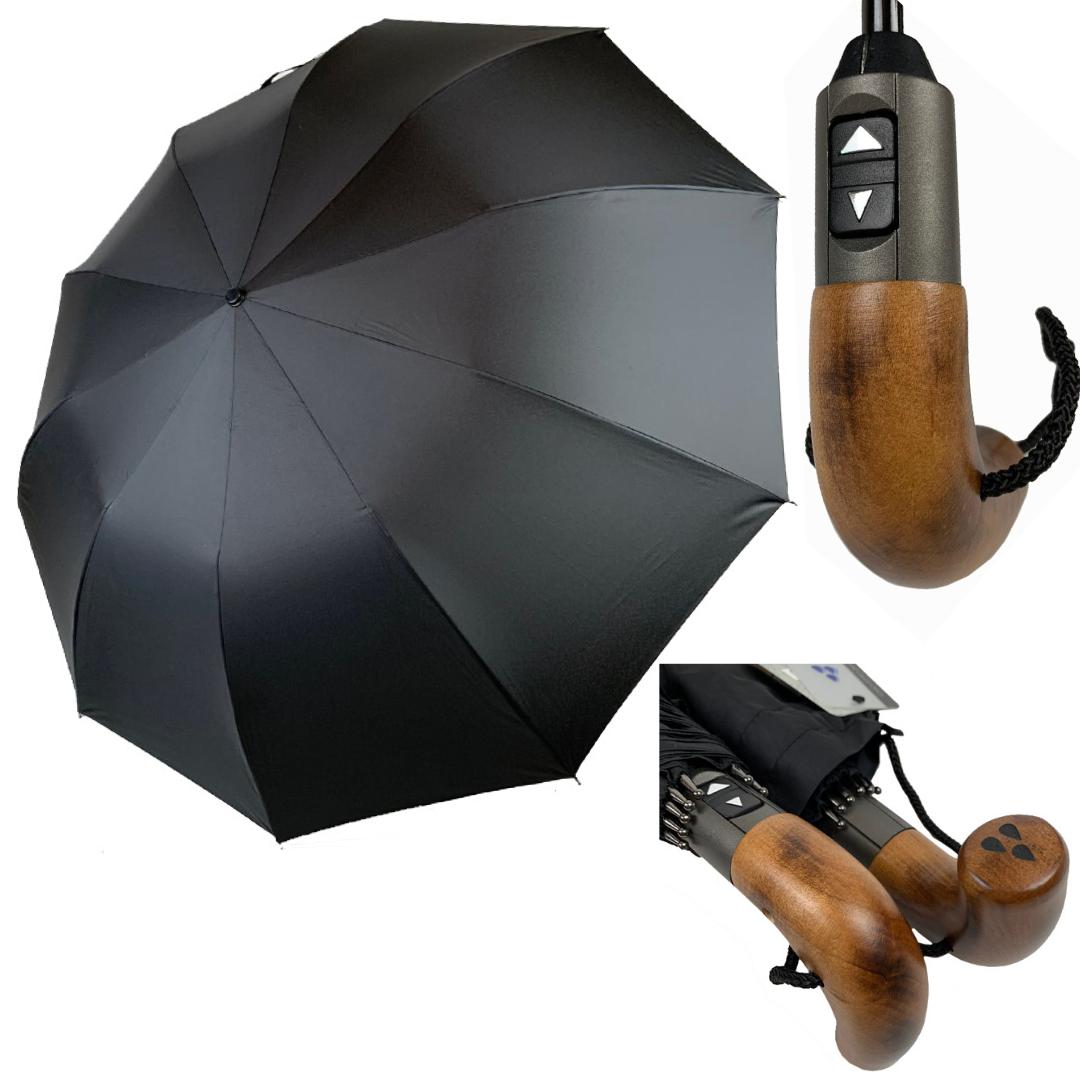 """Президентский мужской зонт-автомат Silver Rain с деревянной ручкой и системой """"антиветер"""", черный, 200-1"""