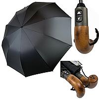 """Президентский мужской зонт-автомат Silver Rain с деревянной ручкой и системой """"антиветер"""", черный, 200-1, фото 1"""