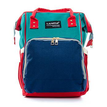 Сумка-рюкзак-органайзер для мамы  Lanpad D900 синий зеленый coral, фото 2