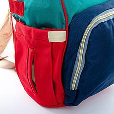 Сумка-рюкзак-органайзер для мамы  Lanpad D900 синий зеленый coral, фото 3