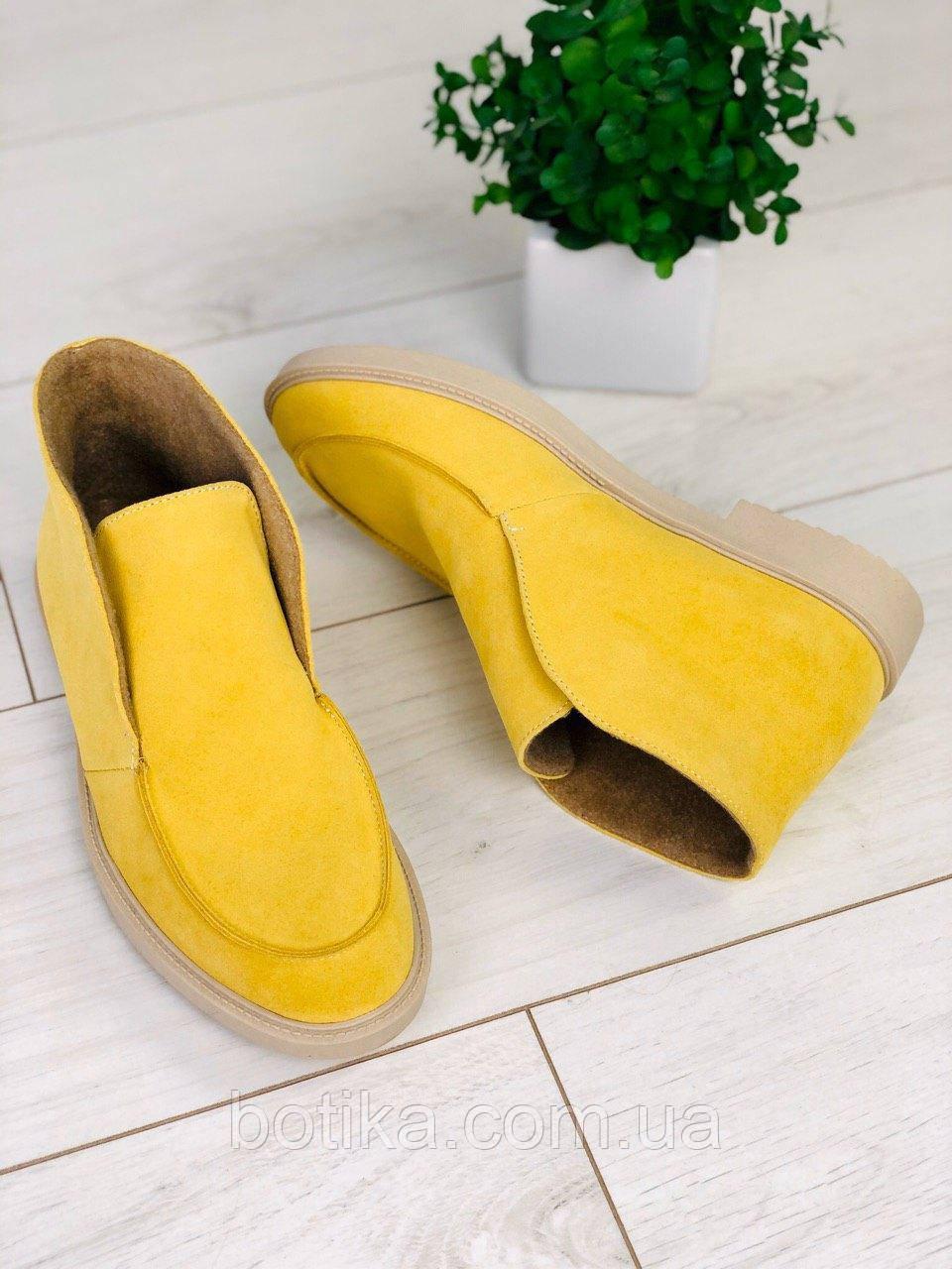 Стильные демисезонные женские ботинки лоферы замшевые