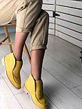 Стильные демисезонные женские ботинки лоферы замшевые, фото 7