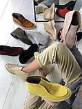 Стильные демисезонные женские ботинки лоферы замшевые, фото 9
