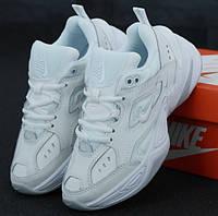 Мужские кожаные белые кроссовки Nike M2K TEKNO Monarch 1в1 Как Оригинал! Найк Монарх 4 ТОП (ААА+)