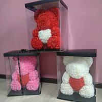 Мишка из 3Д роз 40 см подарок девушке на 8 марта