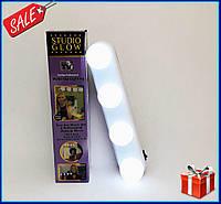 Подсветка на зеркало для макияжа Studio Glow, Светодиодная Лампа -4 лампы, беспроводной светильник для зеркала