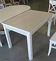 Стол обеденный Марсель 110(+35+35)х75 белый - Ясень Снежный, фото 4