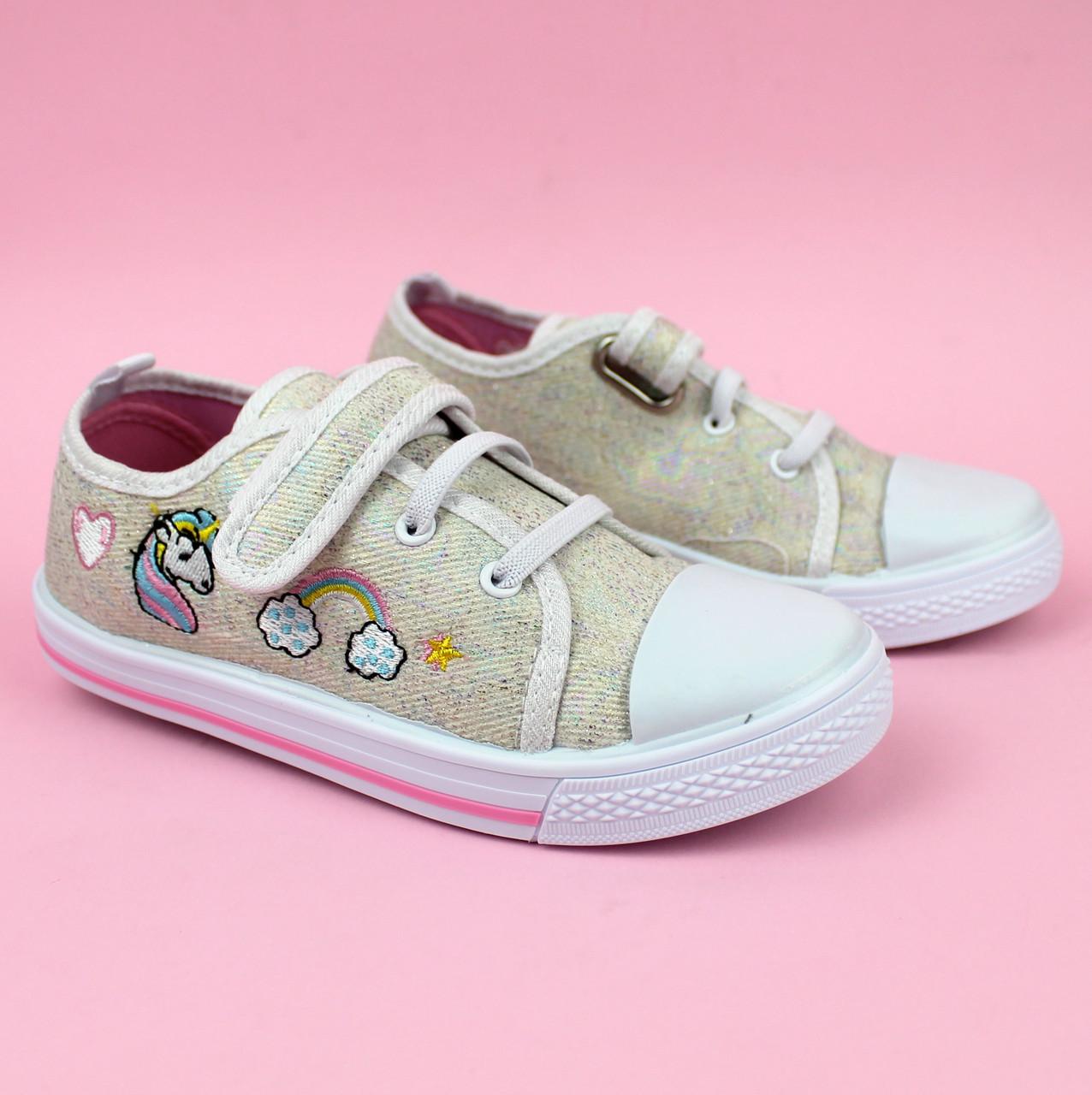 Детские кеды Единорог на девочку стильная текстильная обувь тм Том.м размер 25,27,28