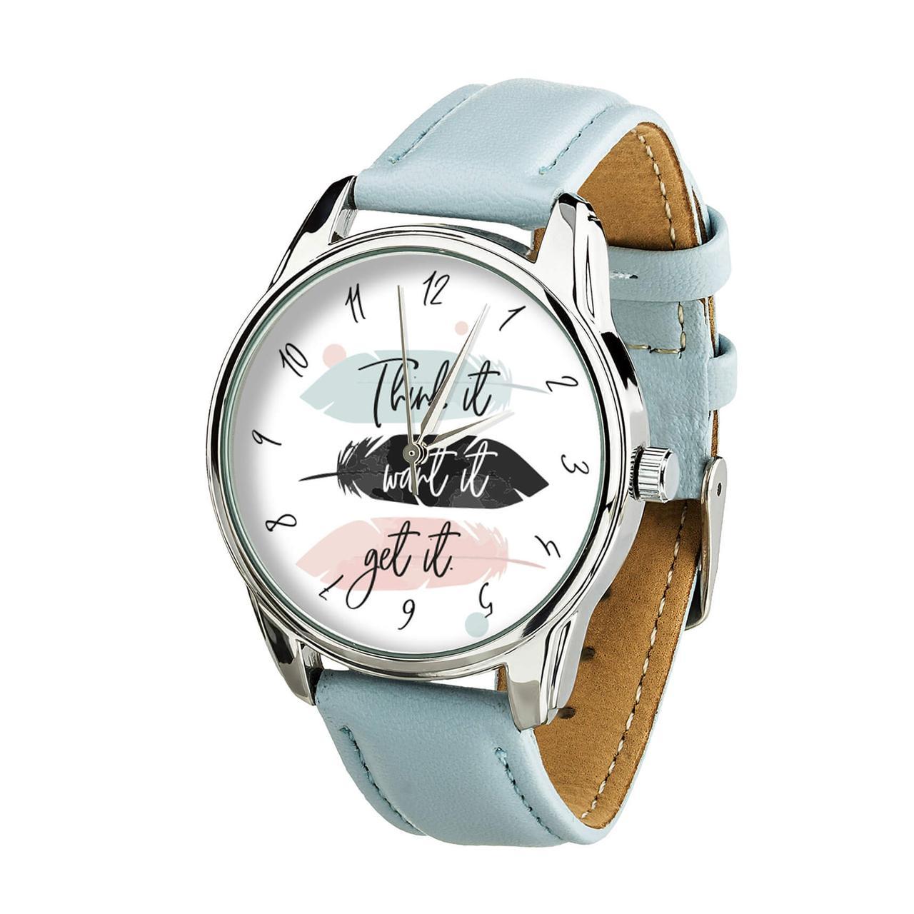 Часы ZIZ Думай Желай Получай (ремешок нежно - голубой, серебро) + дополнительный ремешок