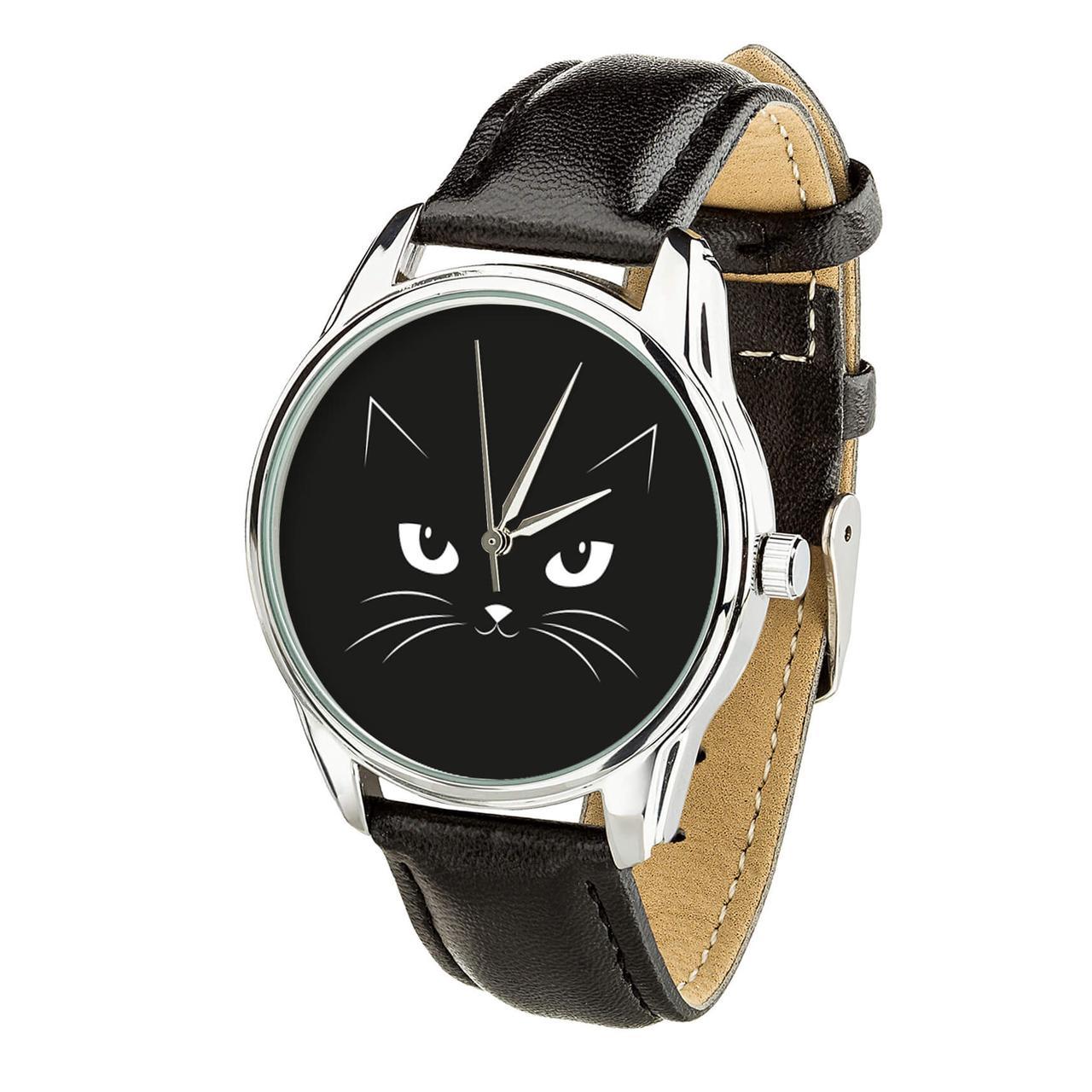 Годинник ZIZ Котячий (ремінець насичено - чорний, срібло) + додатковий ремінець
