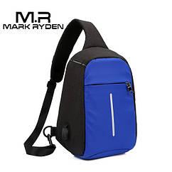 Сумка через плечо Mark Ryden с USB разъёмом. Синий