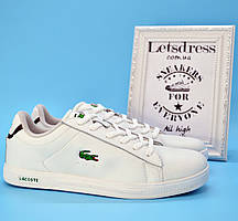 Мужские кроссовки кеды Lacoste Лакоста белые кожа
