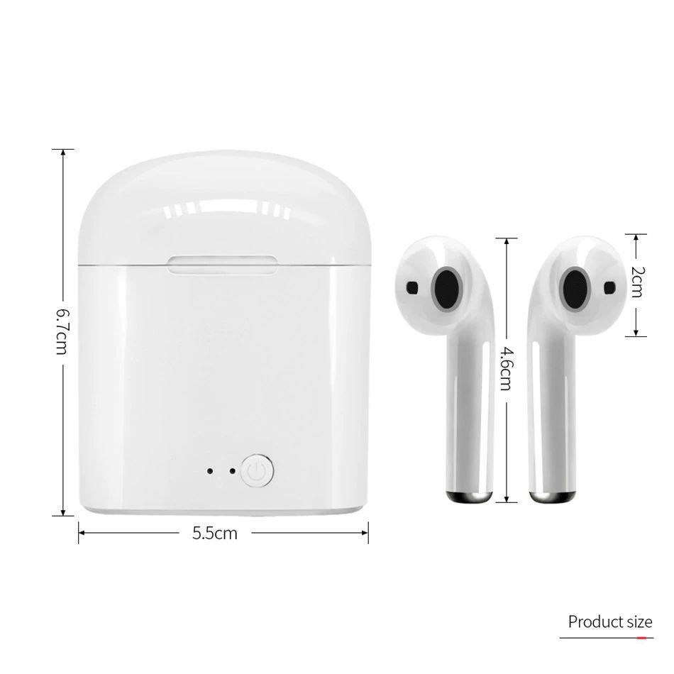 Беспровідні навушники I7s TWS Bluetooth з кейсом, репліка AirPod
