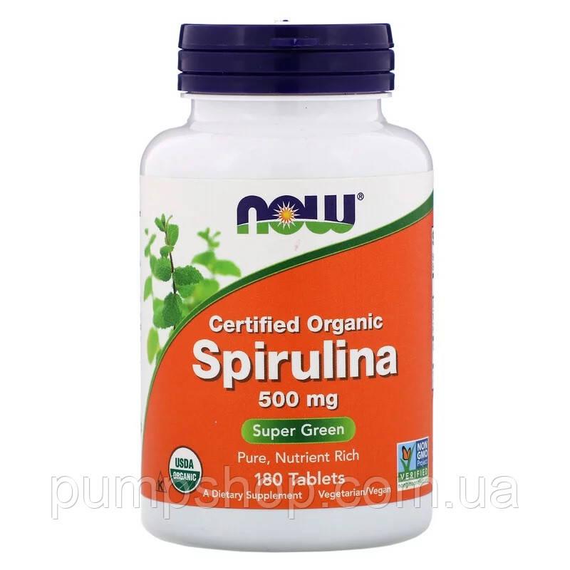 Спирулина органическая Now Foods Certified Organic Spirulina 500 мг 180 таб.