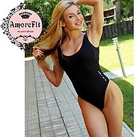 Купальник сдельный Amorefit черный пуш-ап, стринги