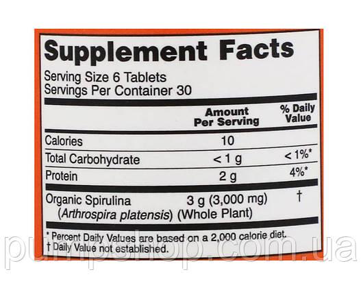 Спирулина органическая Now Foods Certified Organic Spirulina 500 мг 180 таб., фото 2