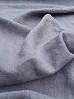 """Льняная плотная костюмная ткань с """"эффектом помятости"""" серого цвета, фото 1"""