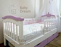 Кровать для ребенка от 3 лет с бортиками Selfie Baby Dream белый, лавандовый