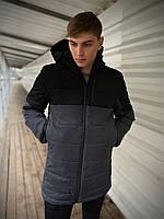 Куртка мужская демисезонная осенняя весенняя утепленная черно-серая Intruder Fusion