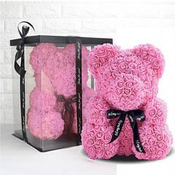 Мишка из роз в подарочной коробке 25 см Bear Flowers (розовый и красный)
