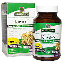 """Кава-кава Nature's Answer """"Kava-6"""" от стресса, 333 мг (90 капсул)"""