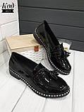 Женские туфли лоферы из натуральной кожи с кисточками, фото 2