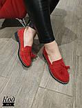 Женские туфли лоферы из натуральной кожи с кисточками, фото 3