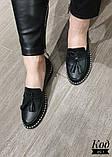 Женские туфли лоферы из натуральной кожи с кисточками, фото 4