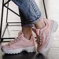 Женские кроссовки в стиле Fila Disruptor 2 Pink\White