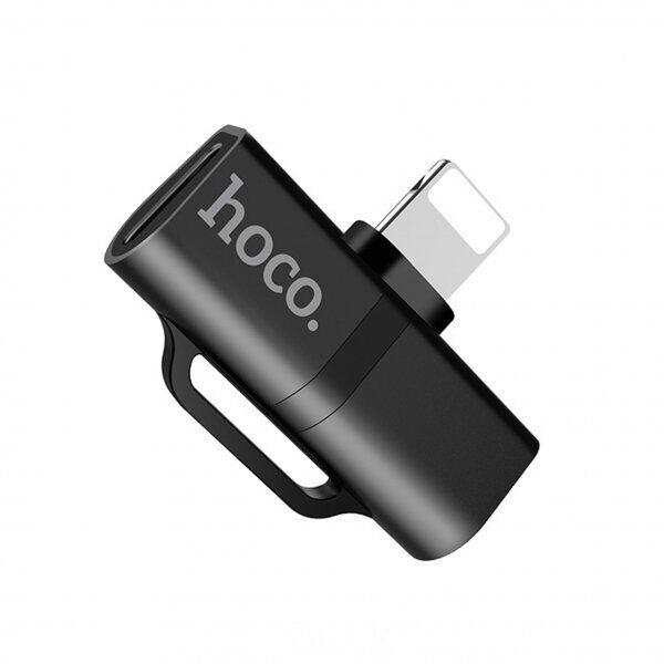 Переходник HOCO LS20 аудио конвертер Dual Lightning Audio 2A Black