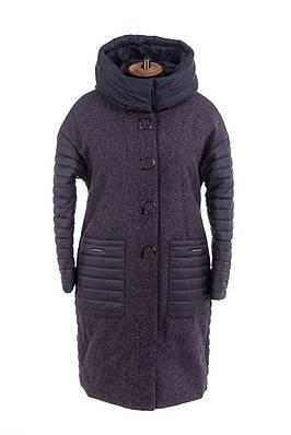 Женское демисезонное пальто большого размера  52-58 синий