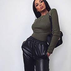 Женские кожаные брюки, фото 2