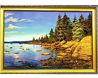 """Большая красивая картина """"Синее озеро""""  из янтаря оригинальный подарок"""