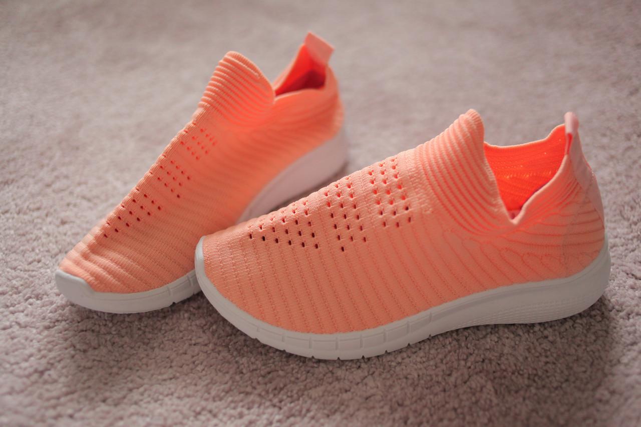 Жіночі кросівки трикотажні колір лосось спорт йога 36-41