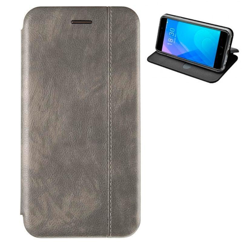 Чехол книжка на Xiaomi Redmi 6a серый кожаный защитный чехол Gelius для телефона.