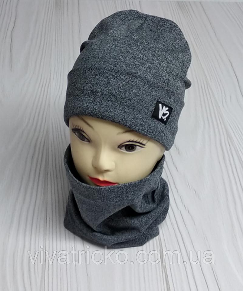 """М 4511. Комплект шапка + хомут для мальчиков """"VS"""" 3-8 лет, разные цвета"""