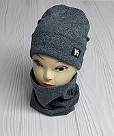 """М 4511. Комплект шапка + хомут для мальчиков """"VS"""" 3-8 лет, разные цвета, фото 1"""